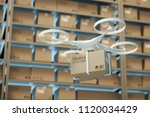 drones carry express packages... | Shutterstock . vector #1120034429