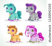 little cute colorful pony... | Shutterstock .eps vector #1120042103