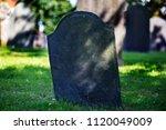 blank gravestone in graveyard. ... | Shutterstock . vector #1120049009