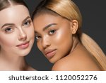 women portrait mix races black... | Shutterstock . vector #1120052276