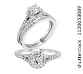 diamond solitaire ring white... | Shutterstock . vector #1120053089