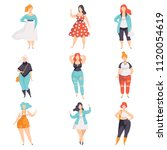 beautiful plus size women in... | Shutterstock .eps vector #1120054619