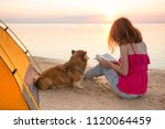 happy weekend by the sea   girl ... | Shutterstock . vector #1120064459