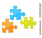 pieces of jigsaw puzzle game    ... | Shutterstock .eps vector #1120065269