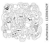 cute cartoons in kawaii style.... | Shutterstock .eps vector #1120065629