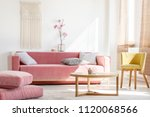 real photo of a pink couch with ... | Shutterstock . vector #1120068566