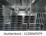 rectangular metal pipes.carbon... | Shutterstock . vector #1120069379