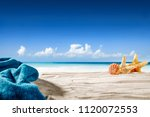 summer photo of beach with... | Shutterstock . vector #1120072553