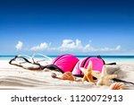 summer photo of shells on sand... | Shutterstock . vector #1120072913