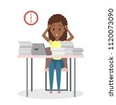 businesswoman with deadline at... | Shutterstock .eps vector #1120073090