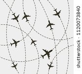 plane with dashed path lines.... | Shutterstock .eps vector #1120073840