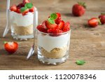 strawberry trifle mini dessert... | Shutterstock . vector #1120078346