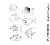 tropic coral fish coloring pages | Shutterstock .eps vector #1120091273