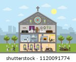 funeral city building interior...   Shutterstock .eps vector #1120091774