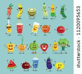 funny healthy food characters ... | Shutterstock .eps vector #1120095653