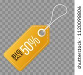 realistic discount yellow tag... | Shutterstock . vector #1120098806
