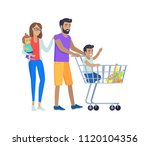 family shopping together ... | Shutterstock .eps vector #1120104356