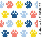 Doodle Dog Paw Seamless Patter...