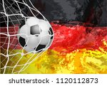 soccer goal. german flag with a ...   Shutterstock .eps vector #1120112873