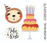 hand drawn birthday card with... | Shutterstock .eps vector #1120122173