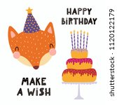 hand drawn birthday card with... | Shutterstock .eps vector #1120122179