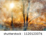 rainy night and town lights... | Shutterstock . vector #1120123376
