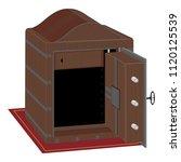 metal safe with open door....   Shutterstock .eps vector #1120125539