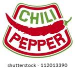 chili pepper label  | Shutterstock .eps vector #112013390