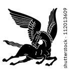 pegasus horse silhouette  ... | Shutterstock .eps vector #112013609