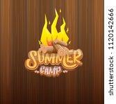 vector summer kids camp cartoon ... | Shutterstock .eps vector #1120142666