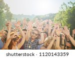 group of people dancing and... | Shutterstock . vector #1120143359