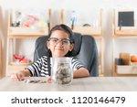 asian little girl in smiling...   Shutterstock . vector #1120146479