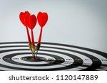 dart arrow hitting in the... | Shutterstock . vector #1120147889