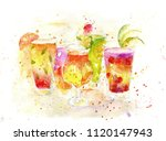 summer cocktails  watercolor... | Shutterstock . vector #1120147943
