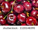 ripe red cherries | Shutterstock . vector #1120148390