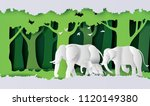 world elephant day  family of... | Shutterstock .eps vector #1120149380