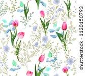 flower vector pattern with... | Shutterstock .eps vector #1120150793