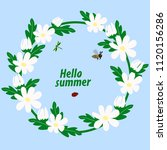 floral wreath with chamomiles...   Shutterstock .eps vector #1120156286