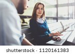 teamwork concept.young creative ... | Shutterstock . vector #1120161383