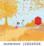 happy kids go to school  | Shutterstock .eps vector #1120169228