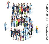 crowded isometric people vector ... | Shutterstock .eps vector #1120179899