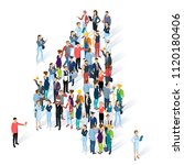 crowded isometric people vector ... | Shutterstock .eps vector #1120180406