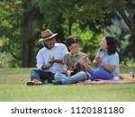 grandparents spend the time  in ... | Shutterstock . vector #1120181180