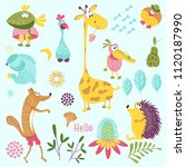 set of forest animals. sly fox  ...   Shutterstock .eps vector #1120187990
