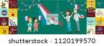 children boy and girl on... | Shutterstock .eps vector #1120199570