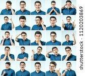 set of young man's portraits... | Shutterstock . vector #1120203869