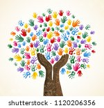 tree with colorful human hands... | Shutterstock .eps vector #1120206356