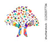 tree with colorful human hands... | Shutterstock .eps vector #1120207736