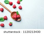 spoon with ripe aromatic... | Shutterstock . vector #1120213430