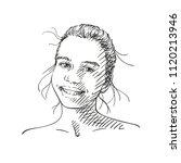 sketch of happy teenage girl ... | Shutterstock .eps vector #1120213946